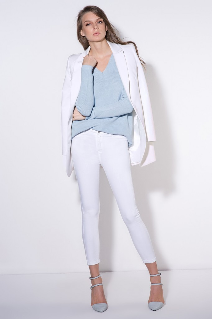 Dar Paça Beyaz 2015 Yüksek Bel Pantolon Modelleri