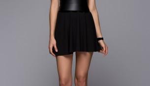 Deri Kemer Detaylı 2015 Siyah Elbise Modelleri