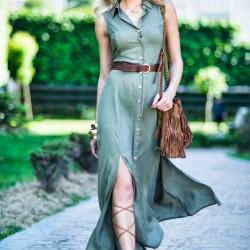 Haki Rengi Elbise Pretty Mark Yaz Sezonu Modelleri