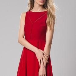 Kedi Merdiveni Detaylı 2015 Kırmızı Elbise Modelleri