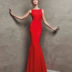 Kolsuz Kırmızı Balık Etek Pronovias Parti Elbisesi Modelleri