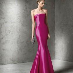 Mikado İpeği Fuşya Pronovias Parti Elbisesi Modelleri
