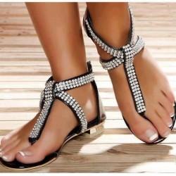 Parmak Arası Taşlı Sandalet Modelleri