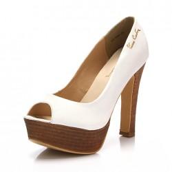 Platform Topuk Beyaz Pierre Cardin 2015 Ayakkabı Modelleri