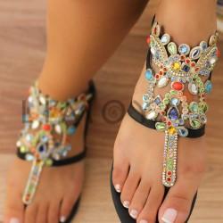 Rengarenk Taşlı Sandalet Modelleri