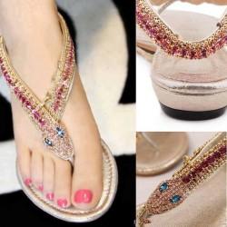 Renkli Taşlı Sandalet Modelleri