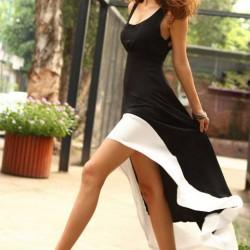 Siyah Beyaz Asimetrik Kesim Elbise Modelleri
