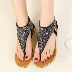 Siyah Taşlı Sandalet Modelleri