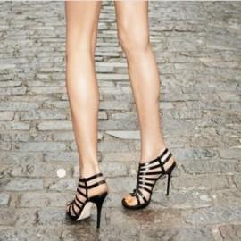 Siyah Yazlık Topuklu Ayakkabı Modelleri