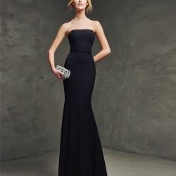 Straplez Lacivert Pronovias Parti Elbisesi Modelleri