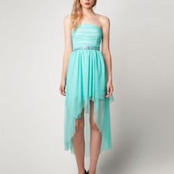 Straplez Mint Asimetrik Kesim Elbise Modelleri