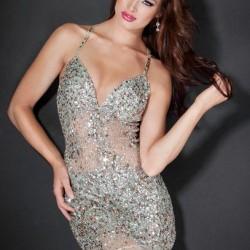 Taş Süslemeli 2015 Spagetti Askılı Elbise Modelleri