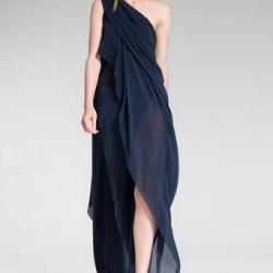 Tek Omuz Lacivert Asimetrik Kesim Elbise Modelleri