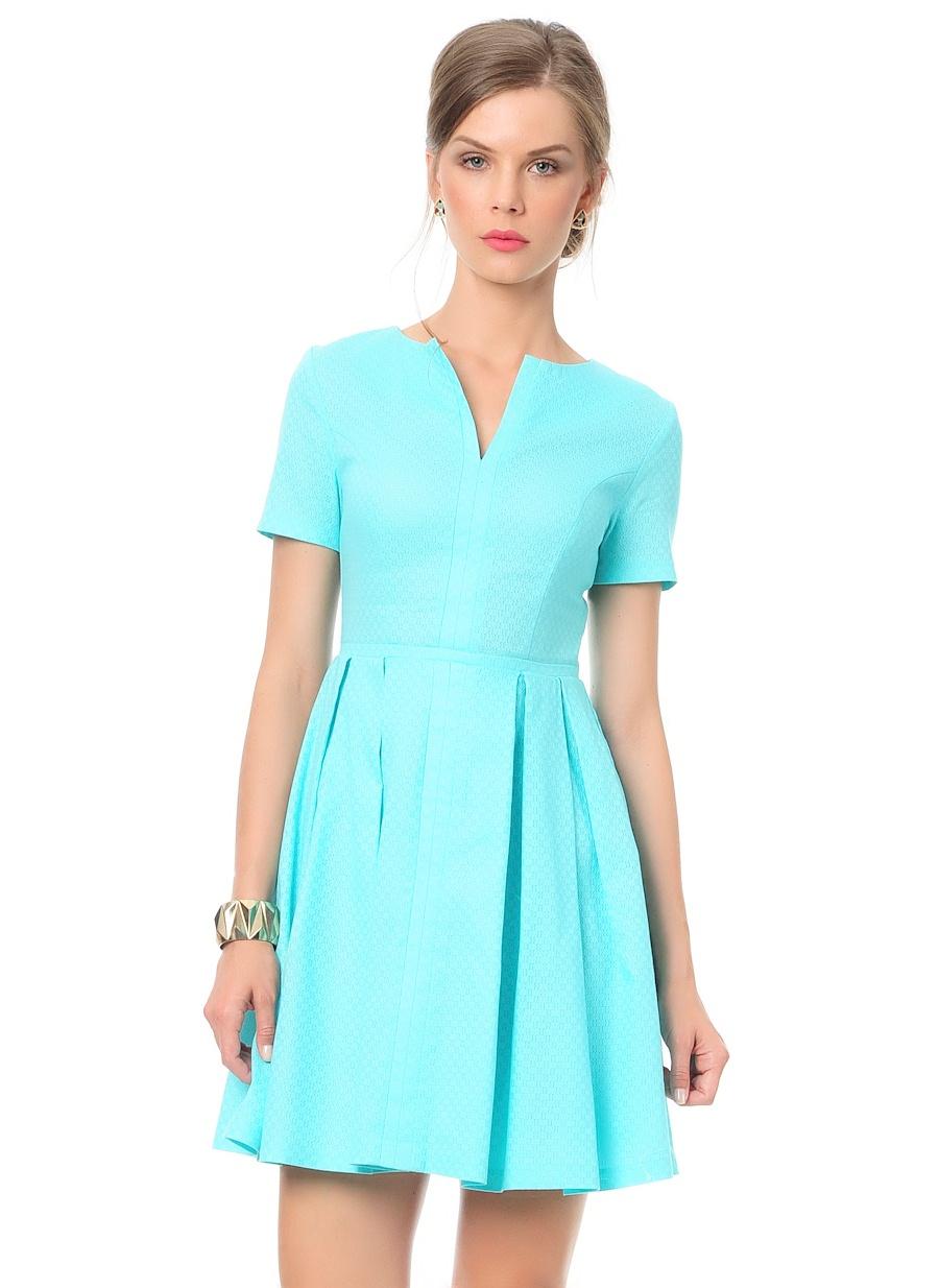 Turkuaz Jakarlı Elbise Modelleri