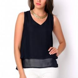 V Yaka Şifon Lacivert 2015 Yazlık Bluz Modelleri