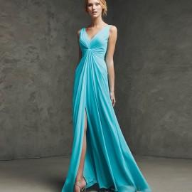 Yırtmaç Detaylı Turkuaz Pronovias Parti Elbisesi Modelleri