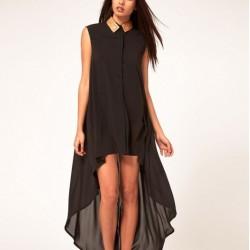 Yaka Detaylı Kolsuz Siyah Asimetrik Kesim Elbise Modelleri