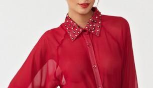 Zımba Detaylı Kırmızı 2015 Şifon Gömlek Modelleri