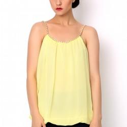 Zincir Asklı Sarı 2015 Yazlık Bluz Modelleri
