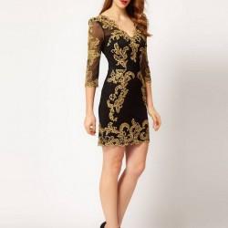 Altın Sarısı Güpürlü Elbise Modelleri