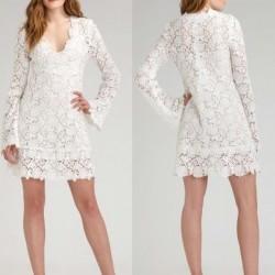 Beyaz Mini Güpürlü Elbise Modelleri