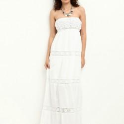 Dantel Detaylı Straplez Beyaz Colin's Yazlık Elbise Modelleri