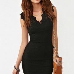 Dantelli Kolsuz Siyah V Yaka Elbise Modelleri