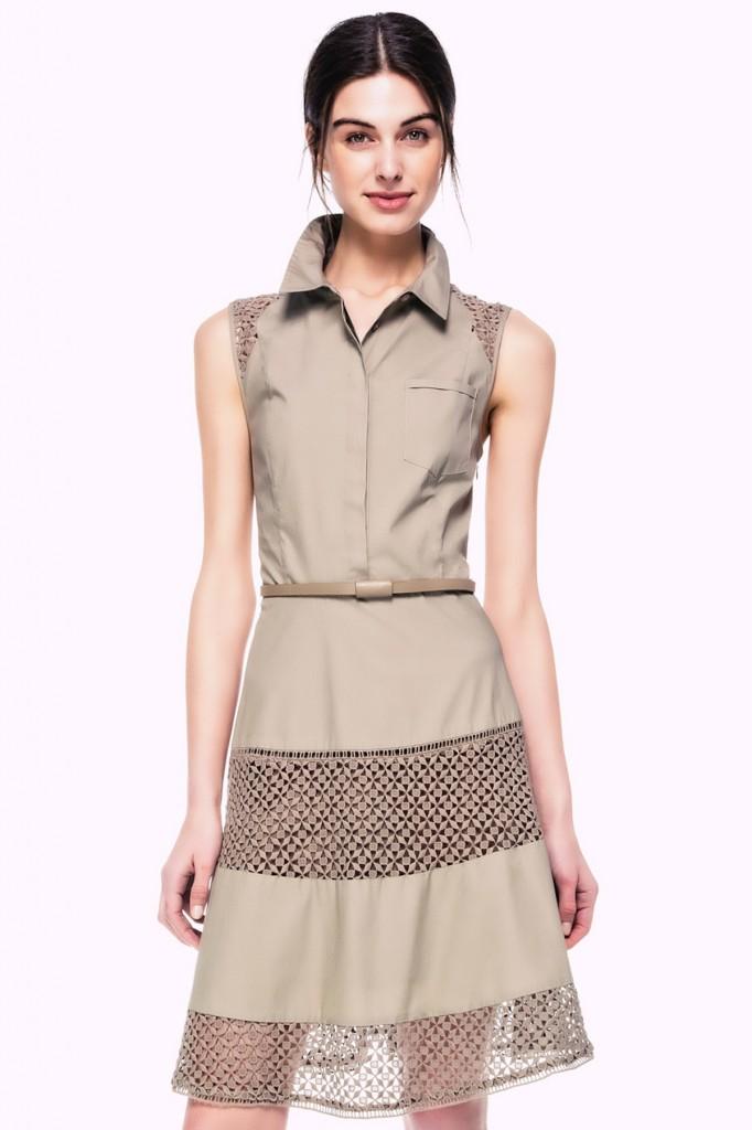 Datel Detaylı Haki İpekyol 2015 Elbise Modelleri