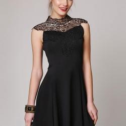 Güpürlü Siyah Elbise Ola Yeni Sezon Modelleri