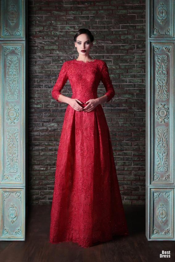 Jakarlı Kırmızı Uzun Kollu Abiye Modelleri