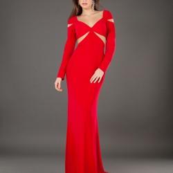 Kırmızı Uzun Kollu Abiye Modelleri