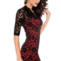 Kırmızı ve Siyah V Yaka Elbise Modelleri