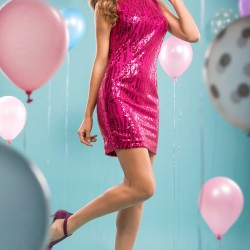 Kolsuz Fuşya Parti Elbisesi Modelleri