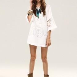Lazer Kesim Beyaz Elbise Bohem Tarz Sokak Modası Modelleri