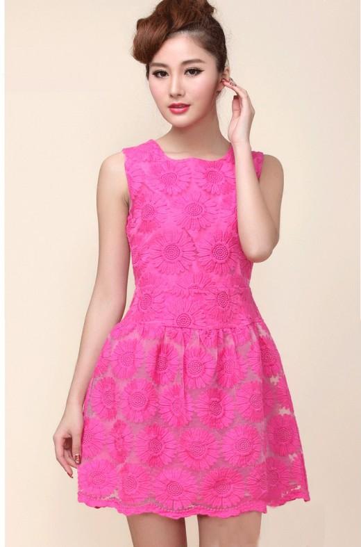 Pembe Güpürlü Elbise Modelleri