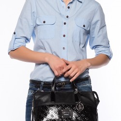 Siyah Deri Guess Çanta Modelleri
