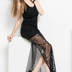 Tül Detaylı Siyah Parti Elbisesi Modelleri