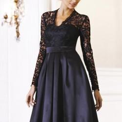 Uzun Kol Güpürlü Elbise Modelleri