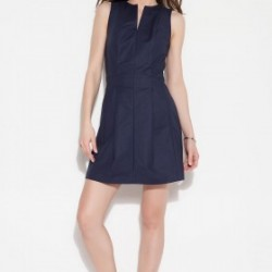 V Yaka Lacivert Elbise Tommy Hilfiger Yaz Sezonu Modelleri
