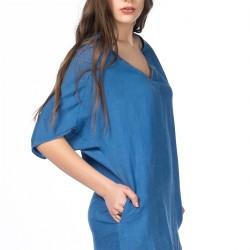 V Yaka Mavi Zara Elbise Modelleri