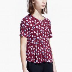 Çiçek desenli, pileli mango tişört modeli 2015