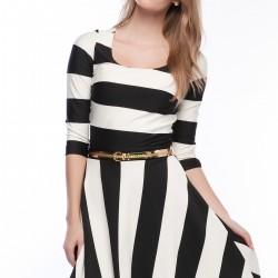 Çizgili Büyük Beden Elbise Modelleri