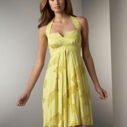 Boyun Askılı Sarı Trend Elbise Modelleri 2015