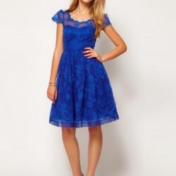 Dantelli Saks Mavisi Trend Elbise Modelleri 2015