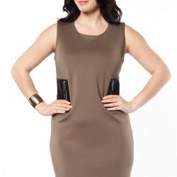 Deri Detaylı Kolsuz Büyük Beden Elbise Modelleri