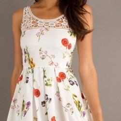 Desenli Beyaz Trend Elbise Modelleri 2015