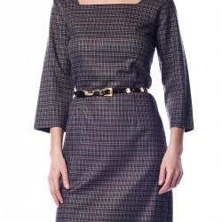 Ekose Siyah Büyük Beden Elbise Modelleri