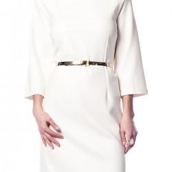 Kemer Detaylı Ekru Büyük Beden Elbise Modelleri
