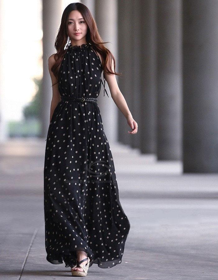 Kolsuz Siyah Uzun Puantiyeli Yazlık Elbise Modelleri