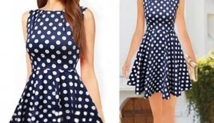 Lacivert Kolsuz Puantiyeli Yazlık Elbise Modelleri